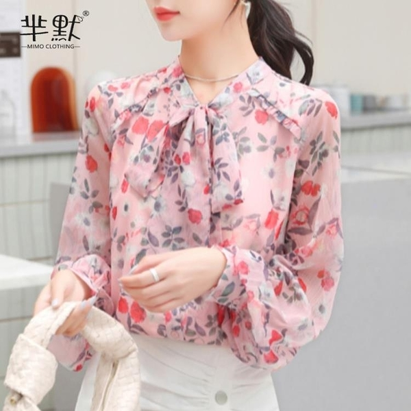 (促銷全場九折)花色雪紡上衣女士年新款春秋裝長袖系帶碎花襯衫時尚洋氣小衫