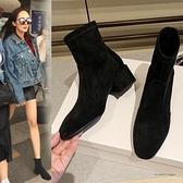 粗跟鞋 2021年春秋單靴粗跟短靴秋冬季新款百搭馬丁靴子瘦瘦襪小高跟女鞋 韓國時尚週