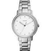 FOSSIL Neely 名媛晶鑽手錶-銀/34mm ES4287
