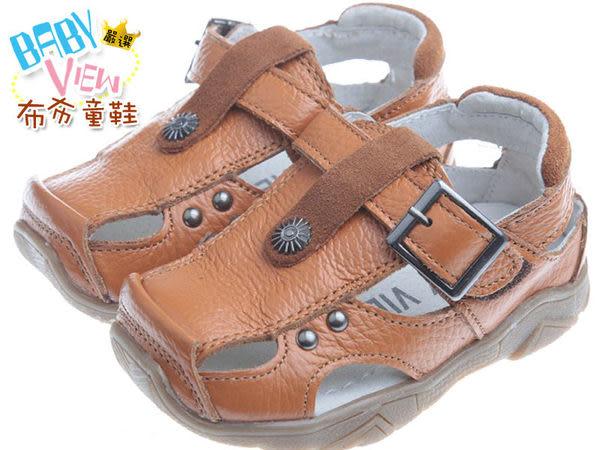 布布童鞋 經典韓風深咖啡色真皮毛毛蟲護趾涼鞋(13~21.5公分) [ OIFS06I ] 咖啡款