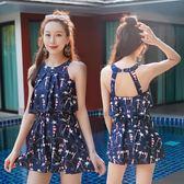 慕依季泳衣女保守連體學生遮肚顯瘦聚攏平角裙式小清新大碼游泳衣(818來一發)