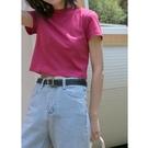 純棉短袖 純棉短袖T恤女夏季新款學生韓版百搭寬鬆純色短款圓領上衣