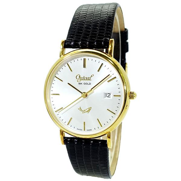 【台南 時代鐘錶 Ogival】愛其華 18K金 簡約氣質優雅腕錶 1203MK 金 35mm