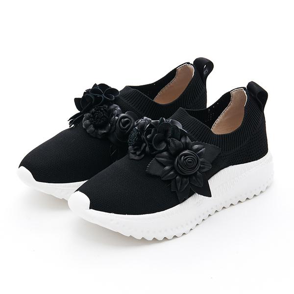 MICHELLE PARK 花園 ‧ 立體花朵超輕量針織休閒鞋-黑
