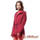 【wildland 荒野】女 三層竹炭膜防風連帽外套『玫紅』0A82917 戶外 休閒 運動 露營 登山 騎車