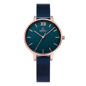 OBAKU 現代兼具經典羅馬數字女性腕錶-藍