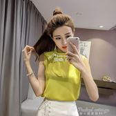 韓版小清新無袖外穿背心女圓領蝴蝶結上衣寬鬆雪紡衫  蒂小屋服飾