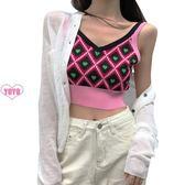 YOYO 韓版愛心印花針織吊帶背心女內搭短款露臍上衣外穿AF1030