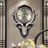 鐘錶掛鐘客廳創意 歐式鐘錶復古美式裝飾掛錶靜音時鐘大鹿頭掛鐘YYP  麥琪精品屋