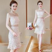 大碼魚尾裙 無袖網紗鏤空抹胸性感修身顯瘦露臍中長款蕾絲洋裝女裝夏季 js25572『Pink領袖衣社』