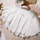 披肩 夏季防曬衣女小披肩配裙子薄款百搭雪紡盤扣開衫上衣外套-Ballet朵朵