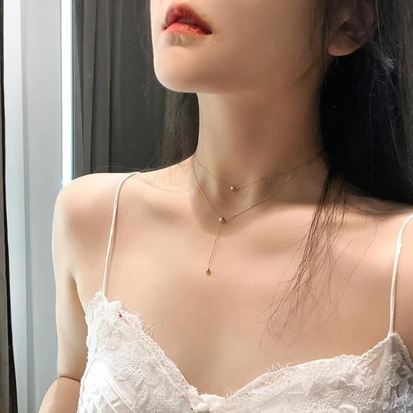 歐美風雙層豆豆項鍊女潮鎖骨鍊氣質簡約脖子飾品頸鍊頸帶【匯美優品】