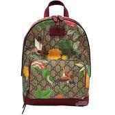 【GUCCI 古馳】427042 Tian GG Supreme backpack 天地花鳥後背包(棕色)