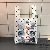 中號環保超市購物袋便攜折疊手提包 喵星人表情包【時尚大衣櫥】