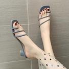 夾腳拖鞋 簡約夾腳趾拖鞋女中粗跟外穿夏天季新款時尚百搭女士一字托 韓菲兒