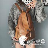 後背包  雙肩包女新款韓版休閑復古百搭小書包超火時尚女士背包潮-奇幻樂園
