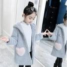 女童外套 女童洋氣外套春裝新款水貂絨加厚中長款韓版兒童毛呢子大衣【快速出貨八折鉅惠】