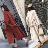 毛呢大衣 風毛呢大衣中長款秋冬季新款流行韓版廓形過膝呢子外套  米蘭shoe
