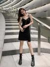 洋裝 女夏吊帶裙設計感小眾性感短款小個子V領黑色吊帶連衣裙【618特惠】
