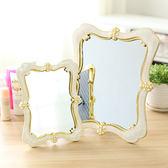 歐式復古台式化妝鏡子桌面高清晰便攜大小號結婚梳妝鏡美容公主鏡開學季,7折起