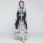 實拍歐美澳洲貴婦款宮廷風定位印花朵長袖襯衣領大擺連衣裙