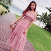 洋裝裙子女夏2018新款時尚百搭蕾絲修身吊帶露肩荷葉邊收腰顯瘦連衣裙「輕時光」