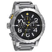 NIXON The 48-20 CHRONO 潮流重擊運動腕錶(鋼帶-銀黑)