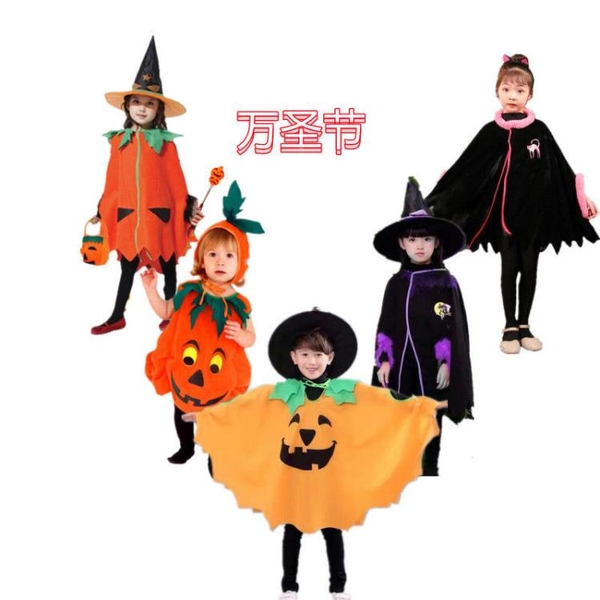 萬圣節兒童服裝貓咪南瓜衣斗篷女巫cosplay化裝舞會幼兒角色扮演快速出貨