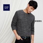 Gap男裝 針織圓領長袖針織衫 男士套頭上衣內搭毛衣 315945-深炭黑色