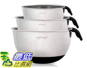 [105美國直購] 不銹鋼攪拌碗 Chef Essential 18/10 Stainless Steel Mixing Bowls Set 3 with Handle and Spout 3PCMXBLBLK