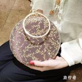 宴會包 刺繡亮片鑲鉆圓環手提包斜跨女手拿禮服包 BF9299【旅行者】