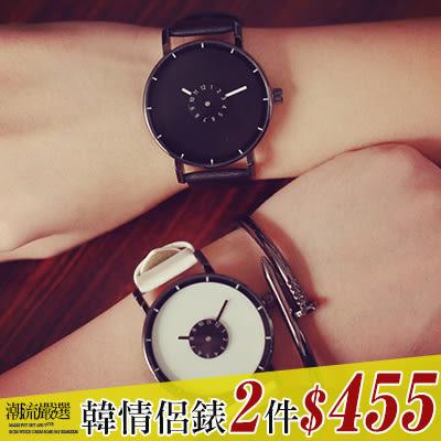 任選2件455ManStyle潮流嚴選小清新極簡素雅雙圓盤皮面錶帶手錶女錶【09U0057】