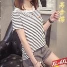 高含棉條紋拼接上衣 XL-4XL【545303W】【現+預】-流行前線-