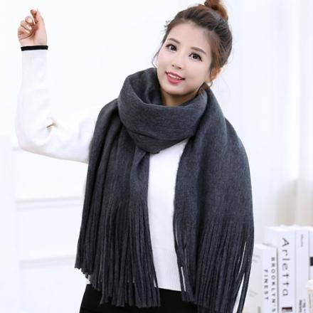 【WI16111424】冬季保暖百搭素色加厚流蘇兩用大披肩 圍巾(深灰)