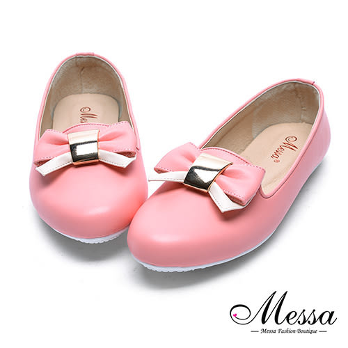 【Messa米莎專櫃女鞋】MIT蝴蝶綁帶女孩內真皮平底包鞋-粉紅色