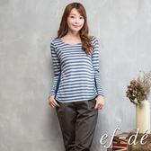 【ef-de】激安 壓摺背拼接橫紋長袖上衣(藍)