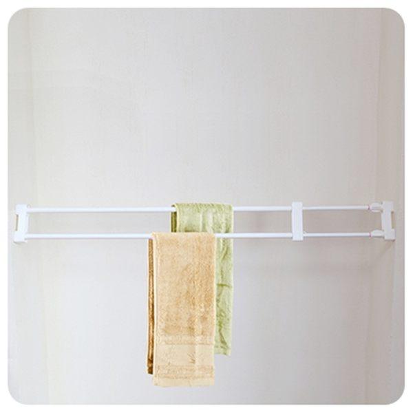【伸縮毛巾架46-75cm】免釘可伸縮櫥櫃隔板 置物架 牆角收納架 DIY毛巾掛架 曬衣架 晾衣架