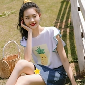 帛卡琪2020夏新款港風少女短袖t恤荷葉邊設計感白T學生印花上衣潮