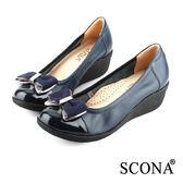 SCONA 全真皮 輕盈舒適鑽飾厚底鞋 藍色 22423-2