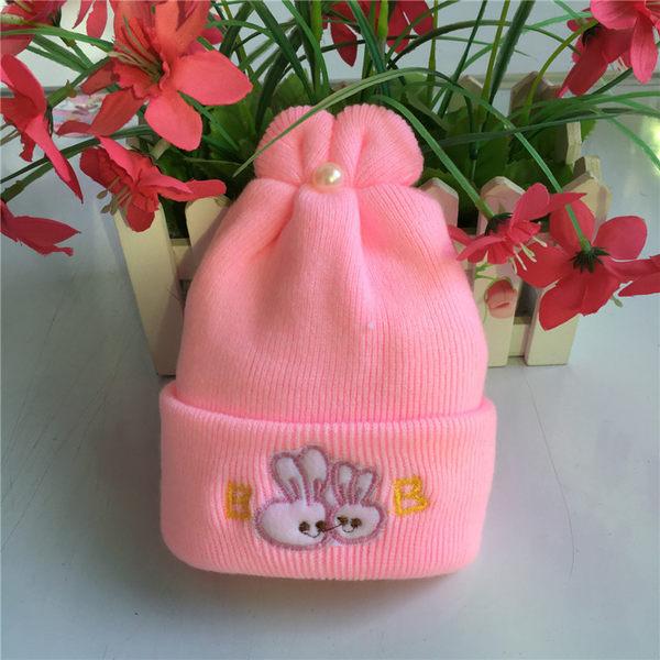 Qmishop 特柔寶寶雙層嬰兒帽新生兒胎帽卡通刺繡童帽初九冬天必備仿羊絨帽【J283】