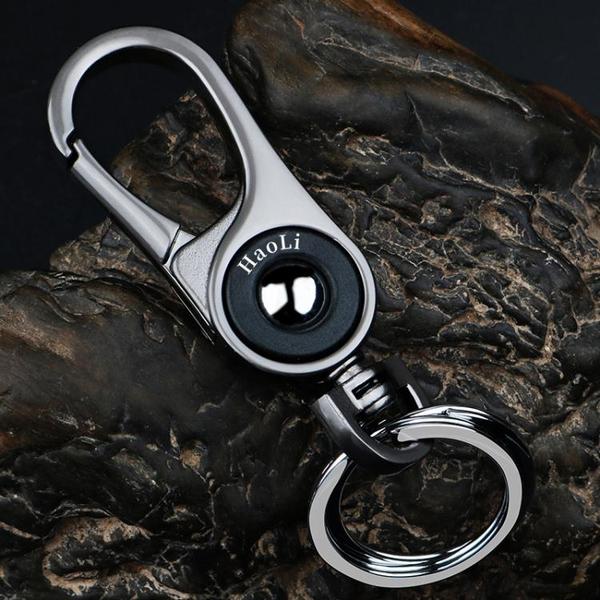 創意商務男士金屬腰掛汽車鑰匙扣個性簡約鎖匙扣環高檔定制小掛件 「青木鋪子」