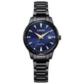 【台南 時代鐘錶 CITIZEN】星辰 EW2598-83L 藍寶石鏡面 日期 鋼錶帶 光動能女錶 黑/銀河藍 29.2mm 對錶