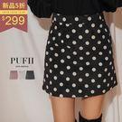 PUFII-短裙 復古點點燈芯絨A字短裙 3色-1018 現+預 秋【CP15371】