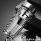 耐熱防爆雙層加厚玻璃杯男商務過濾帶蓋隔熱水晶泡茶杯辦公水杯子