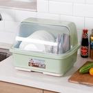 廚房塑料碗櫃帶蓋放碗箱瀝水碗架家用碗筷收納盒子抽屜式防塵碗櫃 亞斯藍