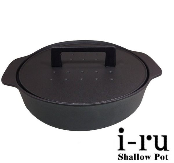 日本南部鐵器I-RU琺瑯鑄鐵淺鍋/媽媽鍋26cm(3.3L) 兩色 【送義大利FARCHIONI橄欖油500ml*1】
