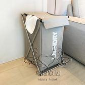 免安裝牛津布折疊帶蓋臟衣籃鋁合金 衣服玩具收納筐浴室洗衣籃xw【幸福家居】