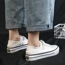 2021年春夏新款厚底帆布鞋女半拖白色增高松糕百搭兩穿踩跟小白鞋