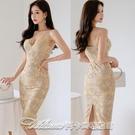 7687#2021夏裝新款韓版氣質修身吊帶裙中長款蕾絲包臀時尚連衣裙 阿卡娜