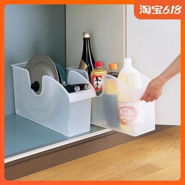 尺寸超過45公分請下宅配日本進口廚房收納盒調味瓶多用途收納箱 帶輪單柄鍋 鍋蓋整理盒子